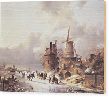 Skaters On A Frozen River Wood Print