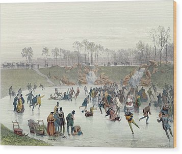 Skaters On The Lake At Bois De Boulogne Wood Print by Ice Skaters on the Lake at Bois de Boulogne