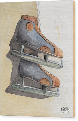 Skates Wood Print by Ken Powers