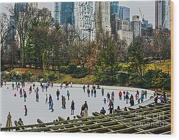 Skating At Central Park Wood Print