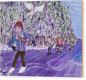 Skating On Thin Ice Wood Print