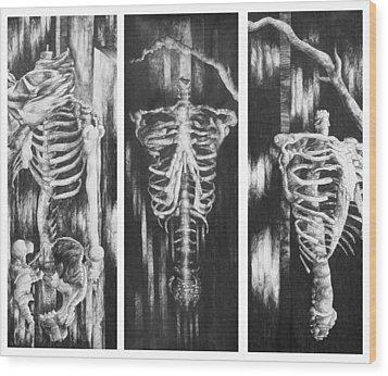 Skeletons In Black Wood Print by Nathan Bishop