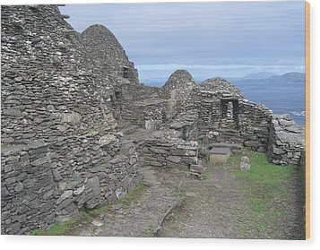 Skellig Michael Wood Print by Amanda Kabat
