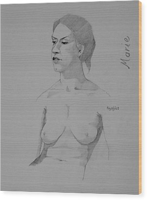Wood Print featuring the drawing Sketch For Marie Seated by Ray Agius