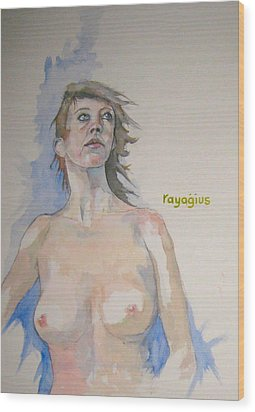 Wood Print featuring the painting Sketch For Megan V by Ray Agius