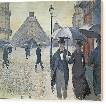 Sketch For Paris A Rainy Day Wood Print by Gustave Caillebotte