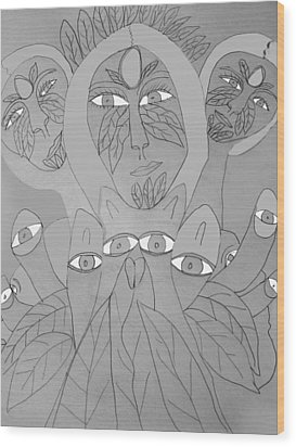 Sketch Idea For Wild Look Wood Print by Betty  Roberts