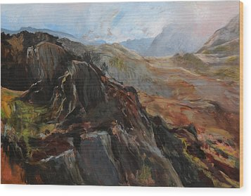 Sketch In Snowdonia Wood Print by Harry Robertson