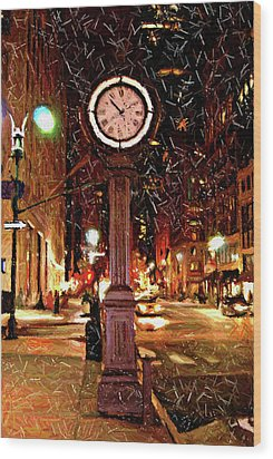 Sketch Of Midtown Clock In The Snow Wood Print by Randy Aveille