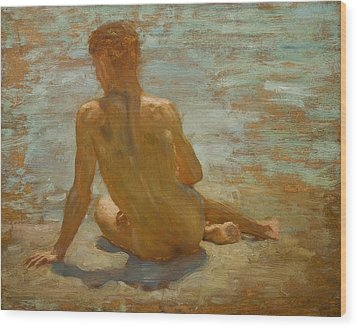 Sketch Of Nude Youth Study For Morning Spelendour Wood Print by Henry Scott Tuke