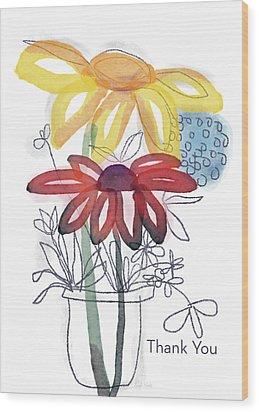 Sketchbook Flowers Thank You- Art By Linda Woods Wood Print by Linda Woods