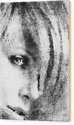 Sketched Charlize Wood Print by Andrea Barbieri
