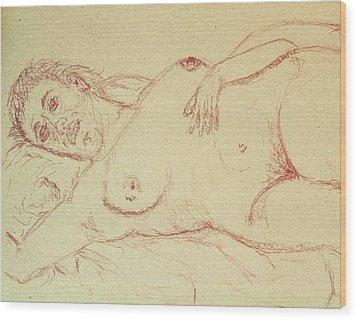Nude Laying In Red Wood Print by Rand Swift