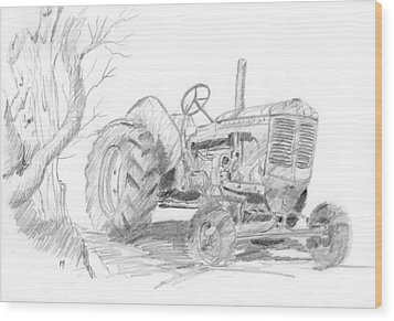 Sketchy Tractor Wood Print