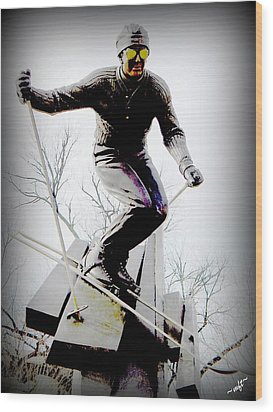 Ski On The Edge Wood Print by Michelle Frizzell-Thompson