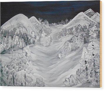 Ski Slope Wood Print by Teresa Nash