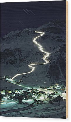 Skiers Bearing Torches Ski Down Mont Wood Print by George F. Mobley