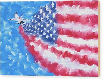 Wood Print featuring the mixed media Skies Over America by Mark Tisdale