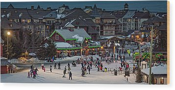 Skiing At The Village Wood Print by Jeff S PhotoArt