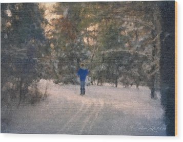Skiing Borderland In Afternoon Light Wood Print