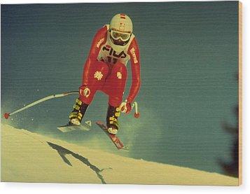 Skiing In Crans Montana Wood Print