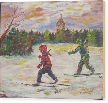 Skiing In The Park Wood Print by Naomi Gerrard