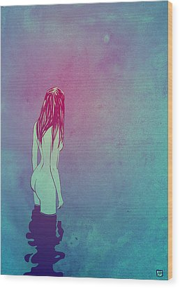 Wood Print featuring the drawing Skinny Dipping by Giuseppe Cristiano