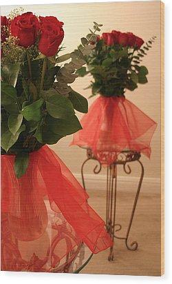 Skirted Roses In Mirror Wood Print by Kristin Elmquist