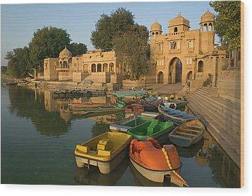Skn 1391 A Visit To Gadisar Lake Wood Print by Sunil Kapadia