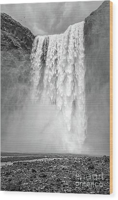 Wood Print featuring the photograph Skogafoss Waterfall Iceland by Edward Fielding