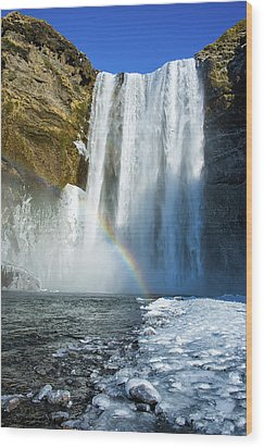 Skogafoss Waterfall Iceland In Winter Wood Print by Matthias Hauser