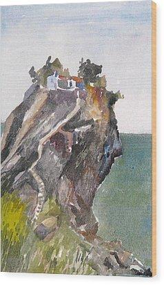 Skopelos Church On The Rock Wood Print by George Siaba