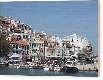 Skopelos Harbour Greece Wood Print by Yvonne Ayoub