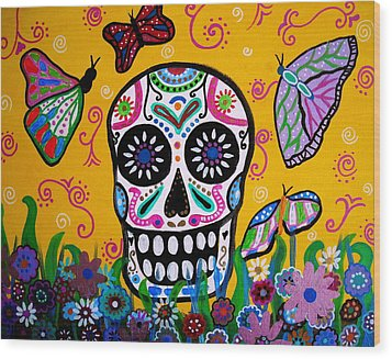 Wood Print featuring the painting Skull And Butterflies by Pristine Cartera Turkus