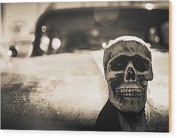 Skull Car Wood Print by Lora Lee Chapman