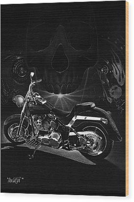 Skull Harley Wood Print by Tim Dangaran