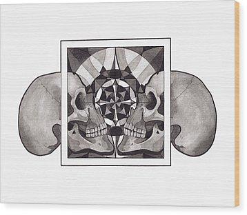 Skull Mandala Series Nr 1 Wood Print by Deadcharming Art