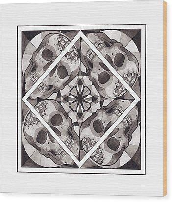 Skull Mandala Series Number Two Wood Print by Deadcharming Art