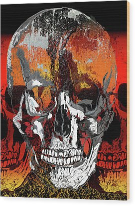 Skull Times Three Wood Print