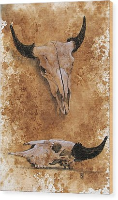 Skulls Wood Print by Debra Jones