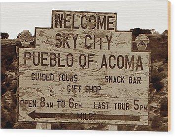 Sky City Sign Wood Print by David Lee Thompson