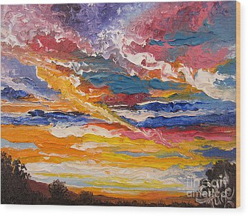 Wood Print featuring the painting Sky In The Morning by Sigrid Tune
