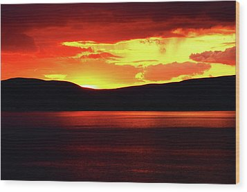 Sky Of Fire Wood Print