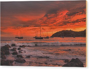 Wood Print featuring the photograph Sky On Fire by Jim Walls PhotoArtist