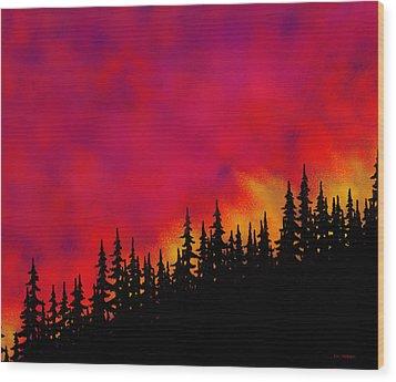 Sky On Fire Wood Print by Tim Stringer