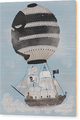 Wood Print featuring the painting Sky Pirates by Bri B