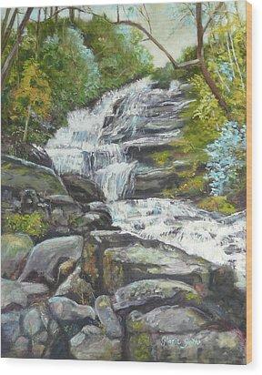 Sky Valley Waterfall Wood Print
