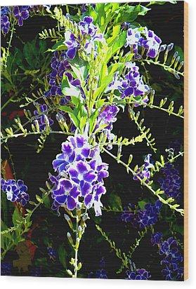 Wood Print featuring the painting Sky Vine In Bloom by Elinor Mavor