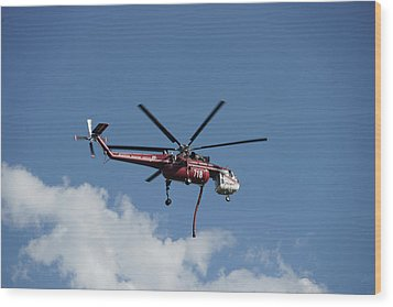 Skycrane Works The Red Canyon Fire Wood Print