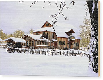 Skyland Farms In Winter Wood Print